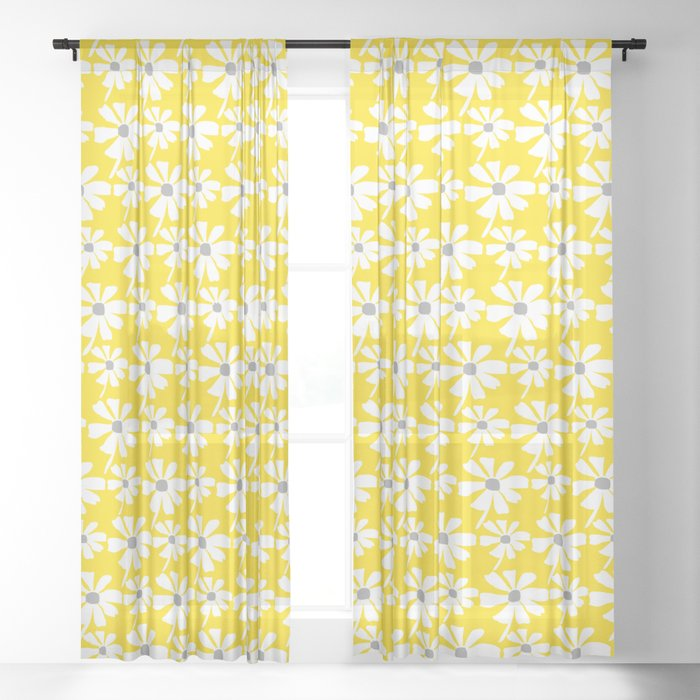 Daisies In The Summer Breeze - Yellow White Grey Sheer ...