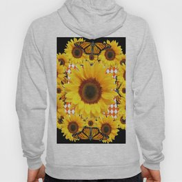 BLACK & MONARCH BUTTERFLIES & YELLOW SUNFLOWERS Hoody