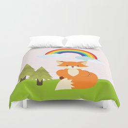 Fox, Rainbow , Pink , nursery decor , Duvet Cover