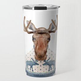 M is for a Moose in a Marvelous Moose Sweater | Watercolor Moose Travel Mug