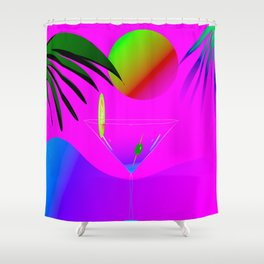 Colorful ,exotic,tropical des,sunset,cocktail,palm trees Shower Curtain