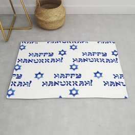Happy Hanukkah Pattern With Star of David Rug