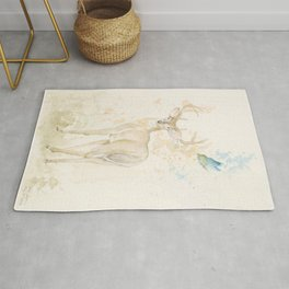 Deer and butterfly Rug