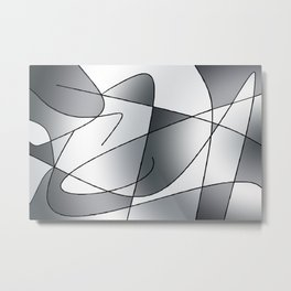 ABSTRACT CURVES #2 (Grays) Metal Print