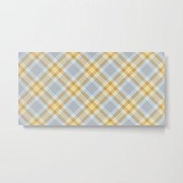 Yellow Gray Plaid Rug Metal Print