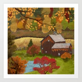Autumnal Farmhose Art Print