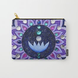 Lotus and Moon Phases Jewelled Mandala Carry-All Pouch