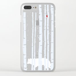 White Wolf, Red Cardinal Clear iPhone Case