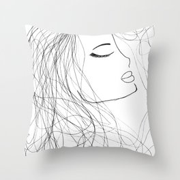 Sketch of a Girl. From my Coloring Book by Jodi Tomer. Curly Hair, Beautiful Girl Throw Pillow