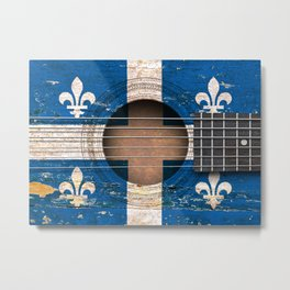 Old Vintage Acoustic Guitar with Quebec Flag Metal Print