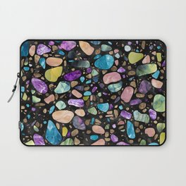 Terrazzo - Gemstones and Gold - Black Marble Laptop Sleeve