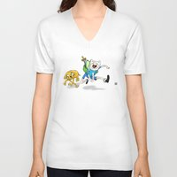 finn and jake V-neck T-shirts featuring Finn & Jake by Dan Bingham