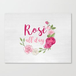 Rose All Day - White Wood Canvas Print
