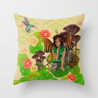 tina fey Throw Pillows featuring Forest Fey by Winsome Kindle