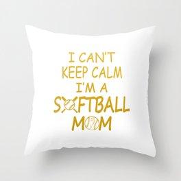 I'M A SOFTBALL MOM Throw Pillow