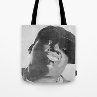 notorious Tote Bags featuring Notorious B.I.G by tyler Guill