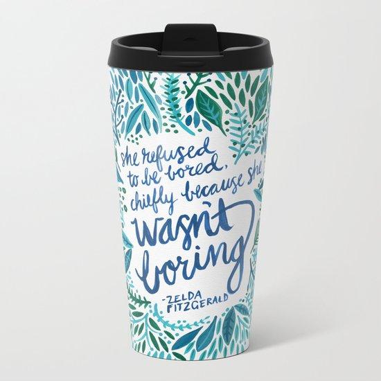 Zelda Fitzgerald – Blue on White Metal Travel Mug