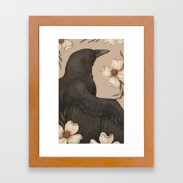 The Crow and Dogwoods Framed Art Print