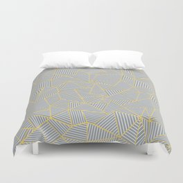 Ab Outline Gold and Grey Duvet Cover