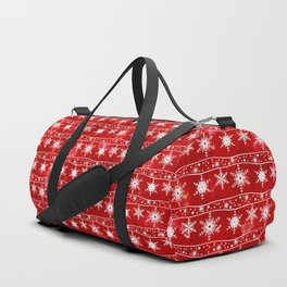 Openwork white snowflakes on red Duffle Bag