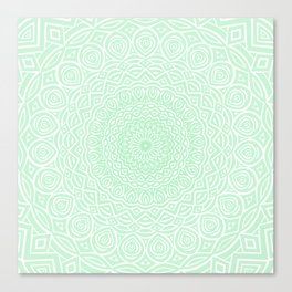 Green Mandala Design Extra Detailed Geometric Ethnic Tribal Pattern Canvas Print