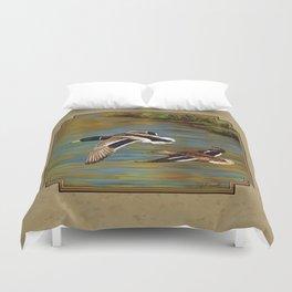 Mallard Ducks in Flight Duvet Cover