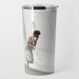 Lady on Balcony Travel Mug