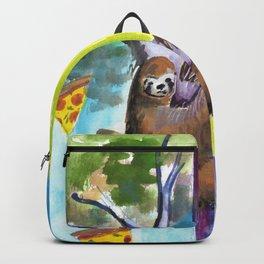 sloth pizza rainbow Backpack