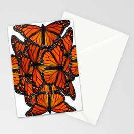 ORNATE PATTERN OF ORANGE MONARCH BUTTERFLIES ART Stationery Cards