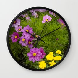 Alaskan Colorful Wild Flowers Serpentining Through Lush Grass Wall Clock