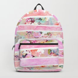 Modern floral watercolor girly pastel pink stripes Backpack