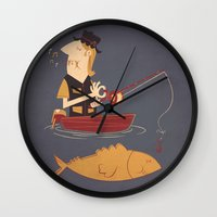 fishing Wall Clocks featuring Fishing by Matt Sinor