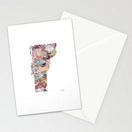 Vermont map Portrait Stationery Cards