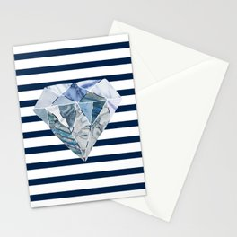 Navy & White Horizontal Stripes & Marble Diamond Stationery Cards