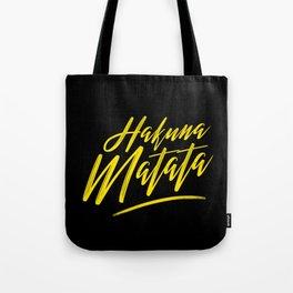 Hakuna Matata (Yellow on Black) Tote Bag