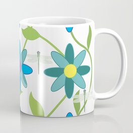 Flower and Dragonfly Design with White Background Coffee Mug