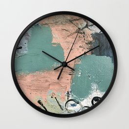 13th and Grant: an abstract mixed media piece in peach green blue and white Wall Clock