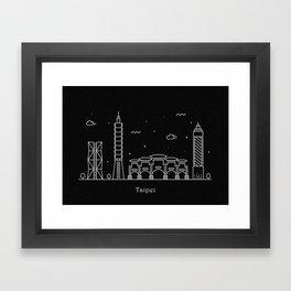 Taipei City Minimal Nightscape / Skyline Drawing Framed Art Print