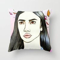 pocahontas Throw Pillows featuring Pocahontas by An Bidault Terra