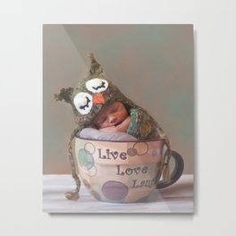 Baby With Owl Cap Metal Print