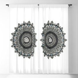 Black and White Flower Mandala with Blue Jewels Blackout Curtain