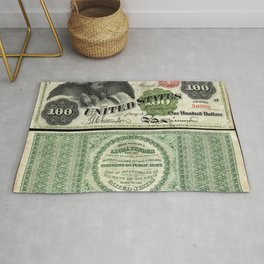 1863 $100 Legal Tender Bank Note Gold Certificate Rug