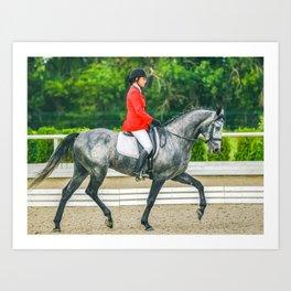 Beautiful girl riding a gray horse Art Print