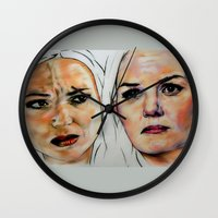 swan queen Wall Clocks featuring Swan Queen by Bernadette Woods
