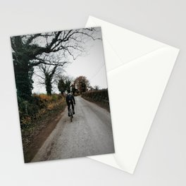 Winter road cycling Stationery Cards