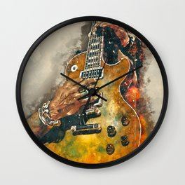 slash's guitar wall art - hand painted guitar art, unique gift for musicians Wall Clock