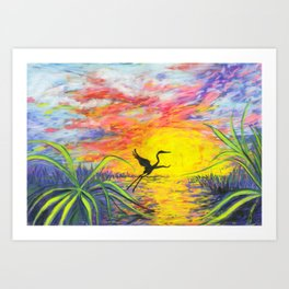 Sandhill Crane in the Sunset by annmariescreations Art Print