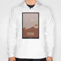 travel poster Hoodies featuring Tatooine Travel Poster by Tawd86