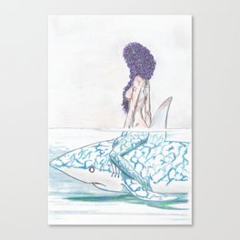 The girl and the fish Canvas Print