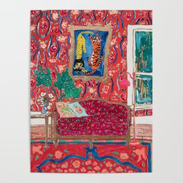 Red Interior with Lion and Tiger after Matisse Poster